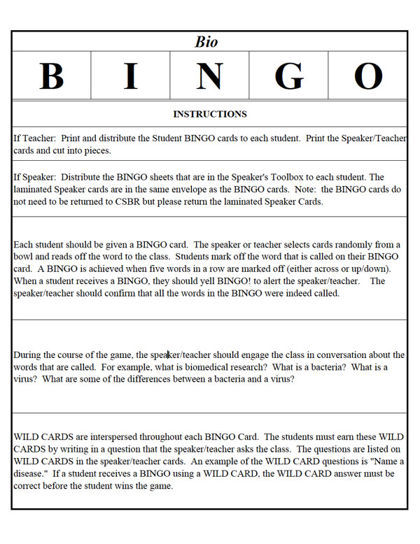 Biomedical Research Bingo - Instructions