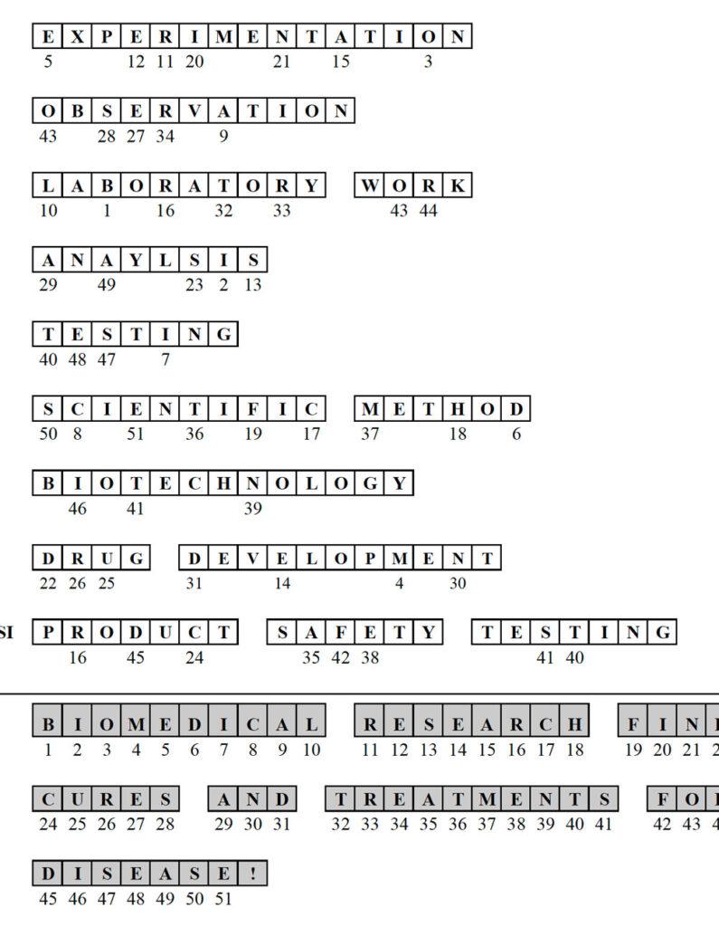 Word Scramble - Answers